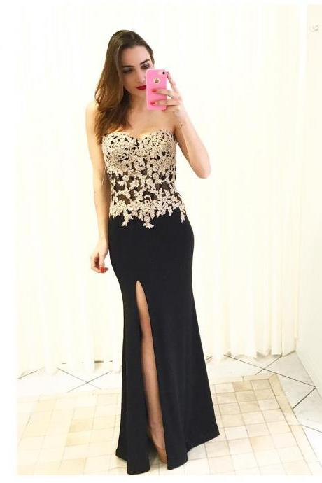 Black Chiffon Prom Dress,Strapless Prom Dresses, Long Mermaid Prom Dresses,Gold Appliques Party Dresses,Sleeveless Evening Dresses, Formal Gowns with Slit