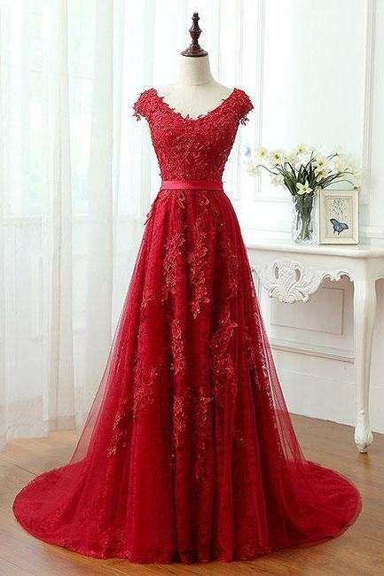 Red Lace prom dresses,Tulle prom dresses,evening dresses,prom dresses for women