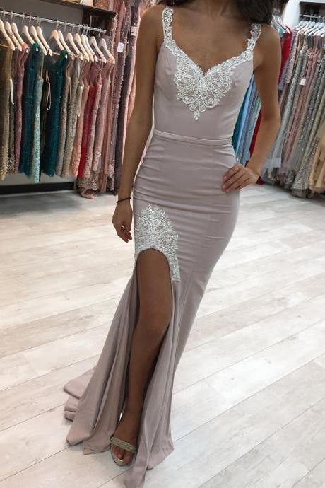 Split Side Evening Dresses, Party Dress, Sexy Mermaid Prom Dress, Appliques Formal Dress