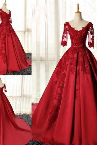 Red A Line Prom Dresses,V Neck 1/2 Sleeveless Prom Dress,Lace Appliques Evening Dresses,With Taffeta Sweep Train Special Occasion Evening Gowns With Belt