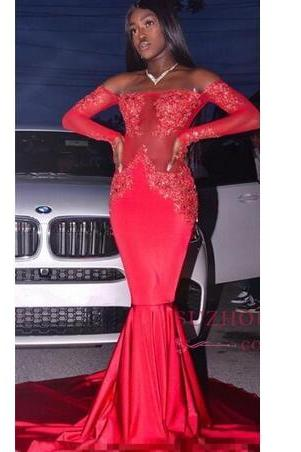 New Gorgeous Red Off the Shoulder Lace Prom Dresses Formal Long Sleeves Mermaid Appliques Satin Arabic Evening Gowns
