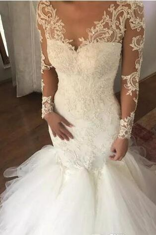 Long Sleeve Wedding Dresses,Mermaid Illusion Neck Wedding Dress,Appliqued Sweep Train Tulle Wedding Dresses,Lace Boho Bridal Dresses,Wedding Gowns for Beach Wedding