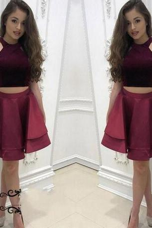 Burgundy Two Pieces Homecoming Dresses,Satin Cheap Homecoming Dress,A Line Mini Crop Top Dress Party Gown, Short Prom Dresses Vestido De Festa