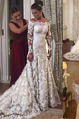 New Gorgeous Wedding Dress,Off the Shoulder Full Wedding Dresses,Lace Mermaid Wedding Dresses ,Long Sleeves Appliqued Bridal Dresses,Zipper Back Bridal Gowns Sweep Train