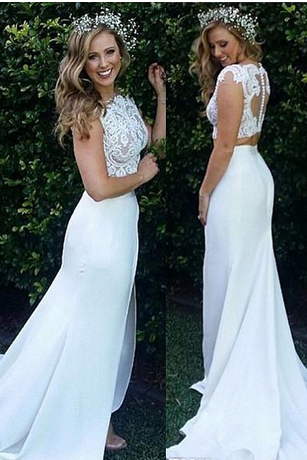 Beach Bohemian Wedding Dress,Two Pieces Wedding Dresses, Mermaid Lace Appliques Bridal Dresses,Boho Long Wedding Dresses,Front Split Bridal Gowns Buttons Back