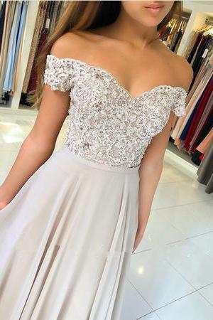 Lace Appliques Prom Dress,V-neck Off The Shoulder Prom Dresses,Long Chiffon Prom Dresses,Prom Dresses Evening Gowns