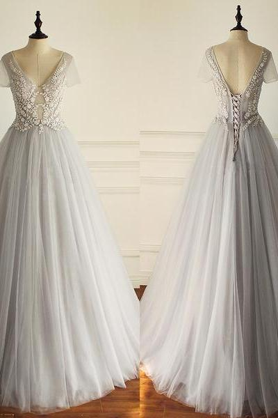 Charming Tulle Wedding Dresses,Short Sleeves Gorgeous Wedding Dress,V Neck Sexy Wedding Dress, Bridals Dress,Prom Dresses Bridal Gowns