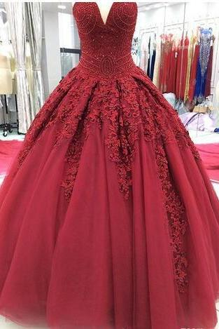 Real Picture Dark Red Prom Dresses,Sweet 16 Dresses, Formal Evening Dress,Lace Applique Evening Dresses,Beading Corset Ball Gown ,Quinceanera Prom Wear For Sixteen