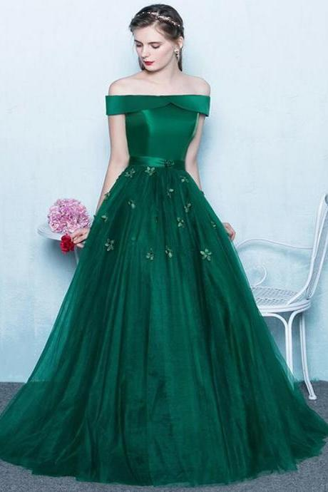 Green Off Shoulder Prom Dress,Lace Up Back Appliques Prom Dresses,Party For Teens Prom Gown Dresses,Prom Dresses, Evening Gowns