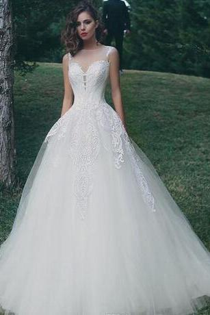 Lace A Line Wedding Dresses, Tulle Applique Wedding Dress,Floor Length Wedding Bridal Gowns,Wedding Dresses ,Bridal Gowns