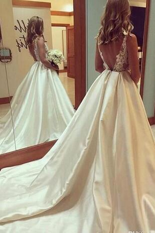 Ivory Backless Wedding Dresses,Bridal Gowns, Satin Long Train Lace wedding dress,Appliques country wedding dresses, Deep V Neck wedding dresses,Custom Made Vestidos Cheap