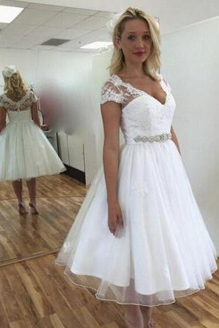 Wedding Dresses Short Sleeve V Neck Beaded Belt A Line Tea Length Bridal Gowns Custom Size