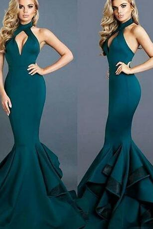Michael Costello Evening Gowns,Sexy Design Dark Green Prom Dress,High Collar Cuthole Backless Prom Dresses,Ruffled Sweep Train Mermaid Prom Dresses,Long Prom Gowns,Backless Prom Dresses Evening Gowns