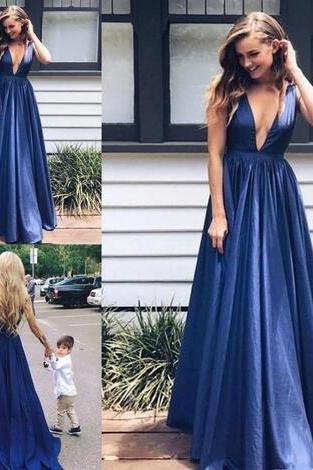 Sexy Deep V-neck Long Evening Dresses Sweep Train A Line Formal Gowns Cheap Prom Party Dress Vestido De Noite,Long Prom Gowns,Backless Prom Dresses Evening Gowns