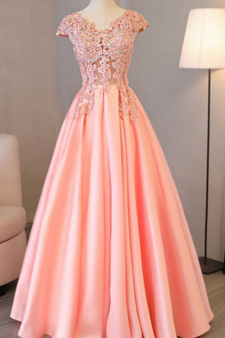 Charming Prom Dress, Cap Sleeve Evening Dresses,Pink Appliques Long Evening Party Dress ,Long Prom Gowns,Lace Prom Dresses,Evening Gowns