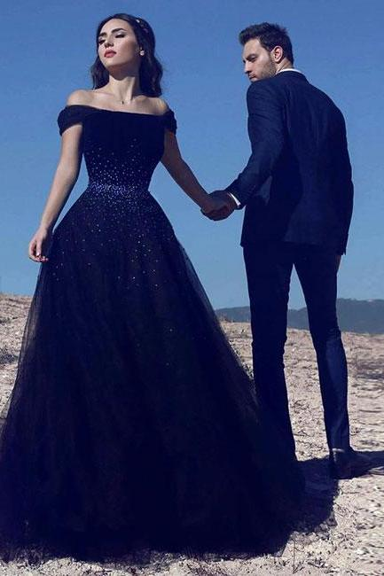 Navy blue tulle long prom dress, blue evening dress,Floor Length Evening Dresses,Zipper Women Party Gowns,Prom Dresses,Evening Gowns