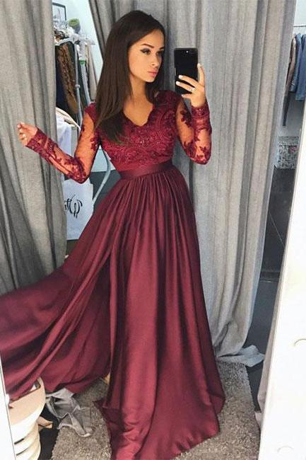Burgundy lace long prom dress, long sleeve prom dress