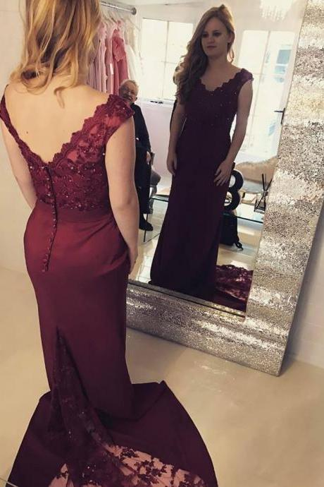 Charming Prom Dress, V Neck Lace Mermaid Prom Dresses, Sexy Burgundy Formal Evening Dress,Floor Length Evening Dresses,Zipper Women Party Gowns,Prom Dresses,Evening Gowns