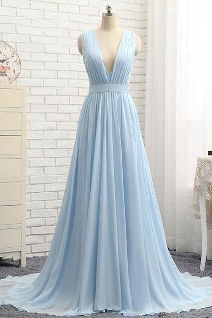 Simple blue v neck chiffon long prom dress, blue evening dress