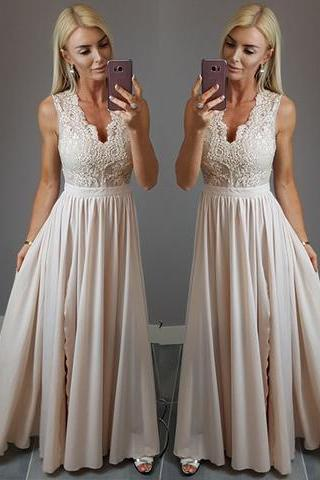 With Lace Appliques Prom Dress,Cheap Formal Dresses ,Sleeveless Appliques Evening Dress, Floor Length Party Dress