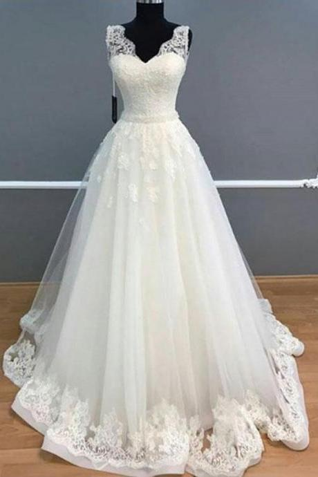 Elegant A-Line Wedding Dresses,V-Neck Sleeveless Wedding Dress,White Long Prom Dresses,Wedding Dress With Lace ,Floor Length Bridal Dresses,Zipper Women Party Gowns,Prom Dresses,Evening Gowns