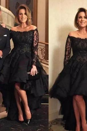 Black High Low Lace Prom Dress,Mother Of The Bride Dress ,Sexy Off Shoulder Prom Dresses,Long Sleeves Evening Gowns, Beaded Wedding Guest Dress,Floor Length Evening Dresses,Zipper Women Party Gowns,Prom Dresses,Evening Gowns