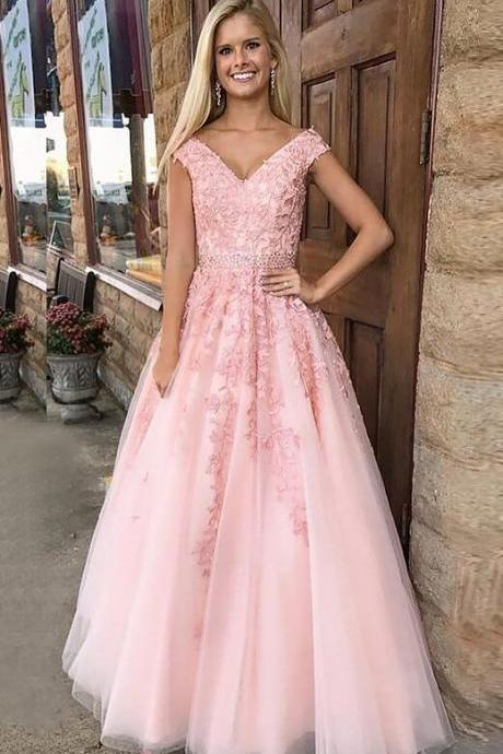 Pink A-Line Prom Dress,Cheap Prom Dress,Lace prom Dress,Princess V-Neck Prom Dress,Sleeveless Floor-Length Applique Tulle Dresses,Long Prom Dresses,Prom Dresses,Evening Dress, Prom Gowns, Formal Women Dress,prom dress