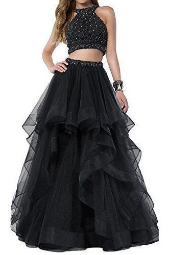 Sexy Beaded Prom Dress,Tulle Prom Dress,Two Piece Prom Dresses ,Long Asymmetric Layered Tulle Formal Dress,Long Prom Gown,Ball Gowns