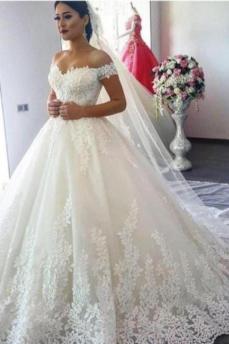 Leaf Lace Appliqués Wedding Dresses,Off-The-Shoulder Wedding Dress,Floor Length Tulle Wedding Gown Featuring Train,Long Bridal Dresses,Prom Dresses,Evening Dress, Prom Gowns, Formal Women Dress,prom dress