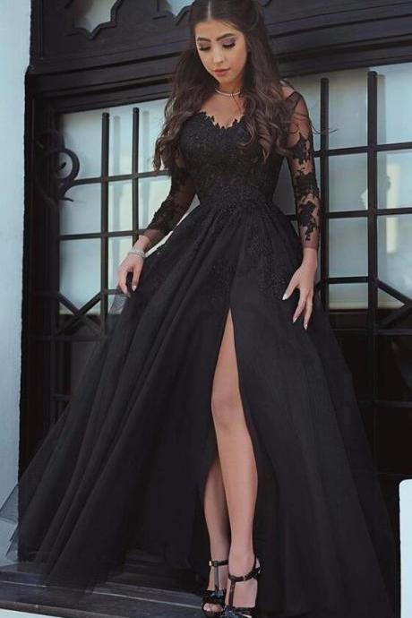 Glamorous Black Slit Lace Evening Dress, Long Sleeve Sexy Black Prom Dress, Sexy Black Formal Dress, Slit Prom Dress, Long Sleeves Prom Dresses