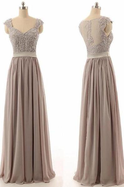 Beautiful Bridesmaid Dresses,Sexy Prom Dress,Long Prom Dress,Floor-length Chiffon Bridesmaid Dress