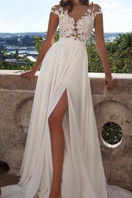 Princess Prom Dress,Short Sleeves Scoop Prom Dress,Lace PromDress,Floor-Length Applique Chiffon Wedding Dresses