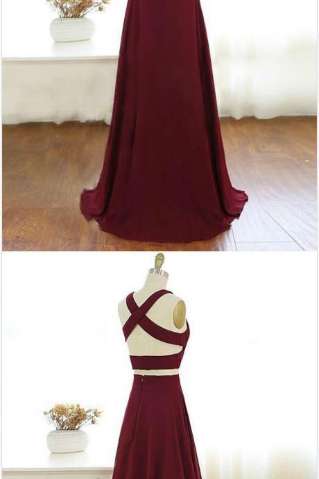 Two Piece Prom Dress,Burgundy Prom Dress,V Neck Prom Dress,Long Chiffon Prom Dress ,Sexy Evening Dress