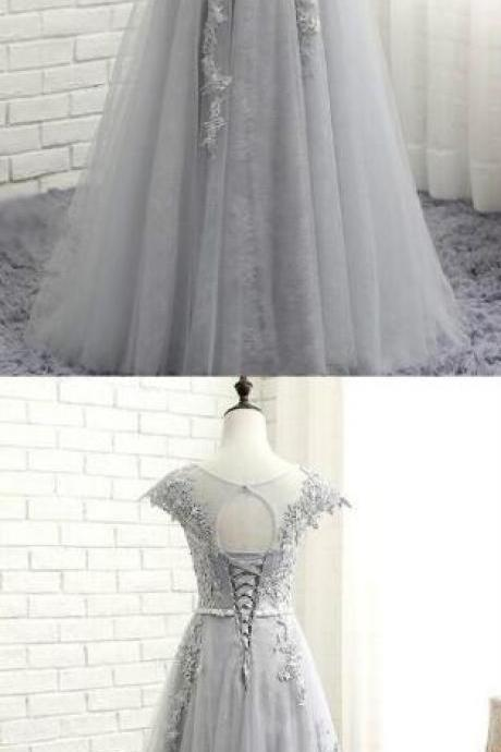 Lace Applique Prom Gowns,Sexy Prom Dress,Cheap Prom Dress,Gray Evening Dresses, A-Line Evening Gowns, Cocktail Dresses Custom