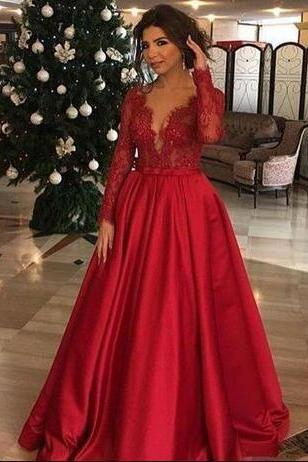 Long Sleeve Prom Dresses, Sexy Prom Dress,Wine Red Appliques Prom Dress, Stain Prom Dress,Formal Evening Dress