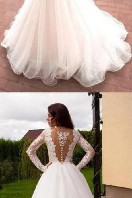 Princess Wedding Dress,Long Wedding Dress,A-Line V-Neck Tulle Wedding Dress, Ivory Long Sleeves Wedding Dresses