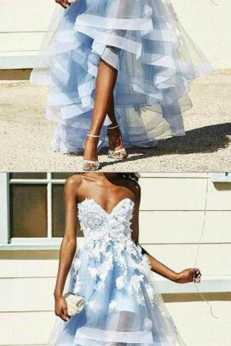 A-Line Sweetheart Prom Dresses,Charming Prom Dress,Sexy prom Dress,High Low Prom Dress With Appliques