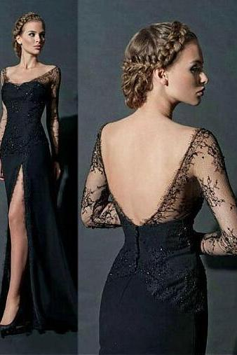Off-the-Shoulder Neckline Sheath Prom Dress,Sexy Evening Dress with Rhinestones, Sexy Satin and Lace Prom Dress,Black Prom Dresses, Sexy Open Back Prom Party Dress, Sexy Woman Dresses