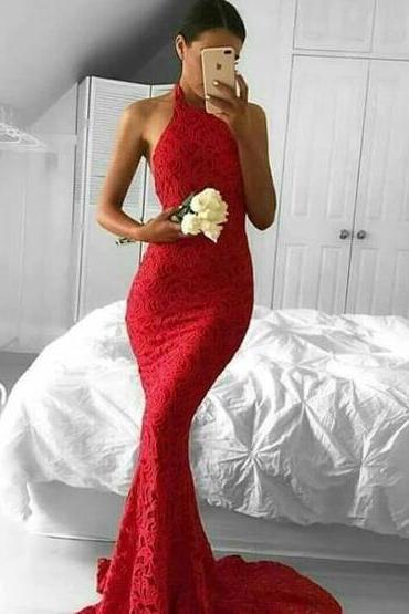 Halter Prom Dresses,A Line Prom Dress,lace mermaid prom dress,cut out back party dress,formal evening dresses for women