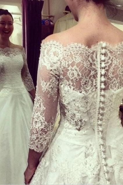 Lace Wedding Dress,Long Wedding Dresses,Off the Shoulder White Wedding Dress with Scalloped Neckline