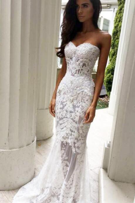 Charming Lace Wedding Dresses,Mermaid Wedding Dress,Sheath Sweetheart Wedding Dresses with Appliques, Strapless Wedding Dresses,Long Wedding Dresses