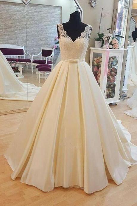 lace Wedding Dress, cheap wedding dress,v neckWedding Dresses, backless Wedding Dresses, Chapel train Wedding Dresses, Sashes Wedding Dresses, Satin Wedding Dresses