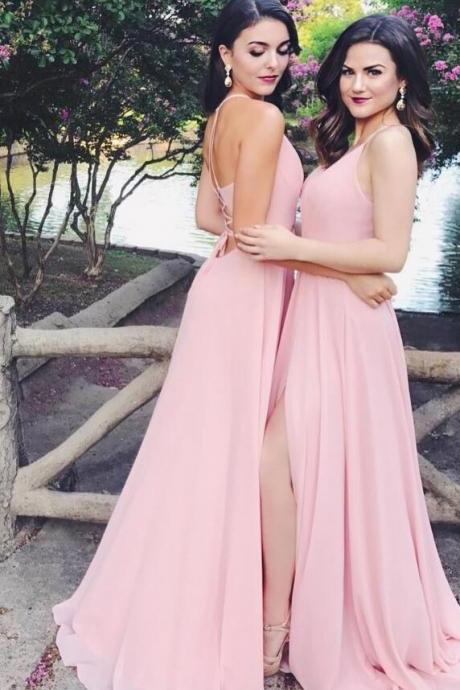 Chiffon Bridesmaid Dress,Backless Bridesmaid Dress,Cheap Long Bridesmaid Dresses with Slit Lace Up Back V Neck Party Gowns