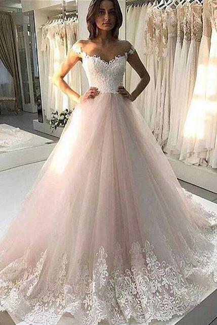 Tulle Appliques Wedding Dresses, Lace Wedding Dress,Charming Wedding Dress, Wedding Gowns, Bridal Dress