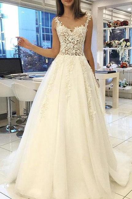 White Lace Wedding Dress,Sweetheart Wedding Dresses,Long Wedding Dress,Straps Evening Dress,Tulle Long Evening Gowns