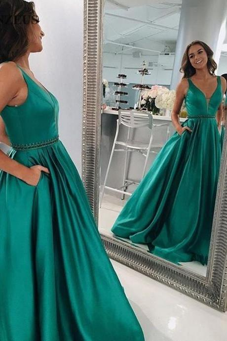 Green Satin Plunge V Sleeveless Floor Length A-Line Prom Dress ,Prom Dress,Long Evening Dress, Long Formal Evening Gowns With Split