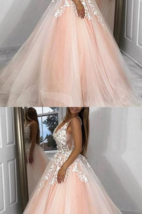 Charming Prom Dress, Tulle Appliques Prom Dresses, Long Evening Dress ,Long Evening Dress, Long Formal Evening Gowns With Split