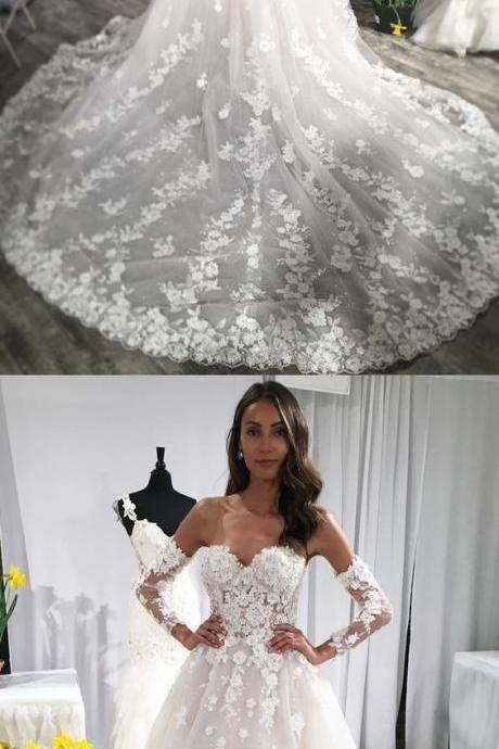 White Tulle Wedding Dress, Sexy Appliques Wedding Gown