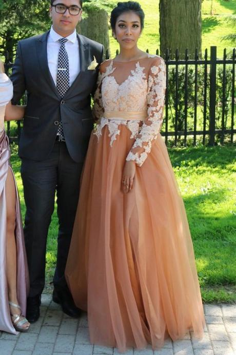 Charming Prom Dress, Long Sleeve Appliques Prom Dresses, Long Evening Dress , Long Formal Evening Gowns With Split