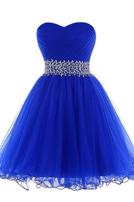Sexy Homecoming Dress,Short Prom Dress, Royal Blue Short Homecoming Dress with Sweetheart Neckline